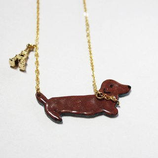 Chocolate sausage dog enamel necklace