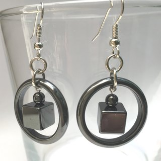 E0283 - own design and production - Natural Gemstone Earrings - iron ore / day of stone