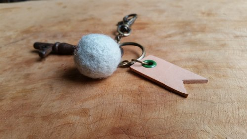 084 leather cowhide - Traveler key ring - can play an English name Seal (Green Lake)
