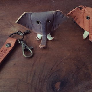 Mike Elephant three-dimensional pure leather key paragraph - Customizable name