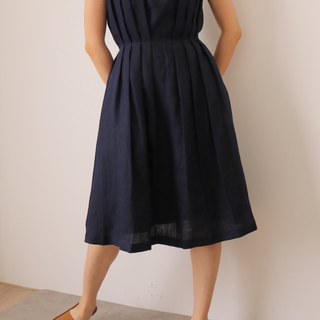 Etude Dress Navy Sleeveless Natural Linen Wedding Dress (Other colors available)
