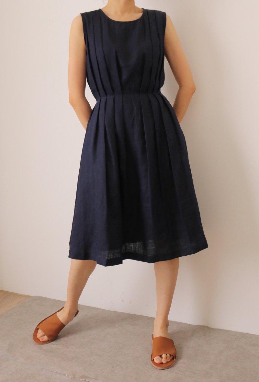 Etude Dress 深藍無袖亞麻夏日婚宴微禮服(可訂做其他顏色)