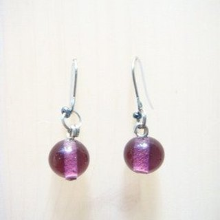 Grapefruit Forest Hand-Glass - Wild Glass Earrings Series - Grape Violet (can be clip-free)