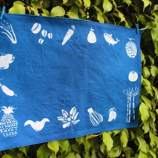 Handmade blue dye placemat / fruit
