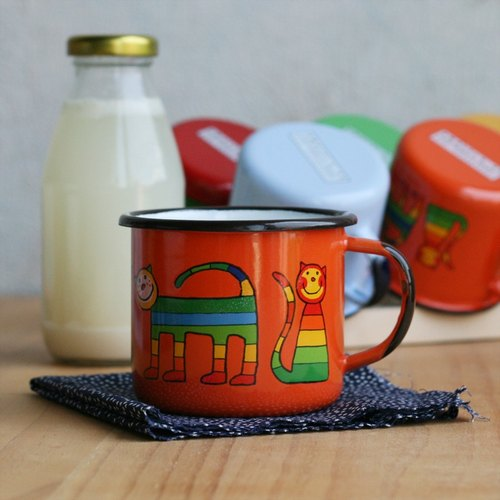Smaltum Prague enamel cup shy meow microphone _ orange (350ml) <FDN000180>