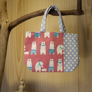 [Katie. C Katie. heart. Feel relaxed walks of life] small bag / lunch bag / Walking bag / handle bag = = pink polar bear family