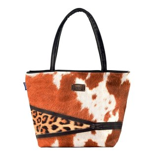 COPLAY tote bag II-cow & Cheetah zip