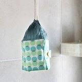 Essential oil pouch 精油收納包 藍綠圓圓直紋格 blue + green