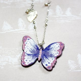 Purple Butterfly Enamel long chain