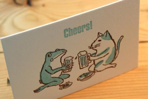 A letter greeting card Cats and frogs toast a cup of blue green 2 pieces