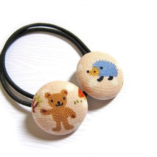 Hand-made cloth button hair headband ring Bear & amp; hedgehog