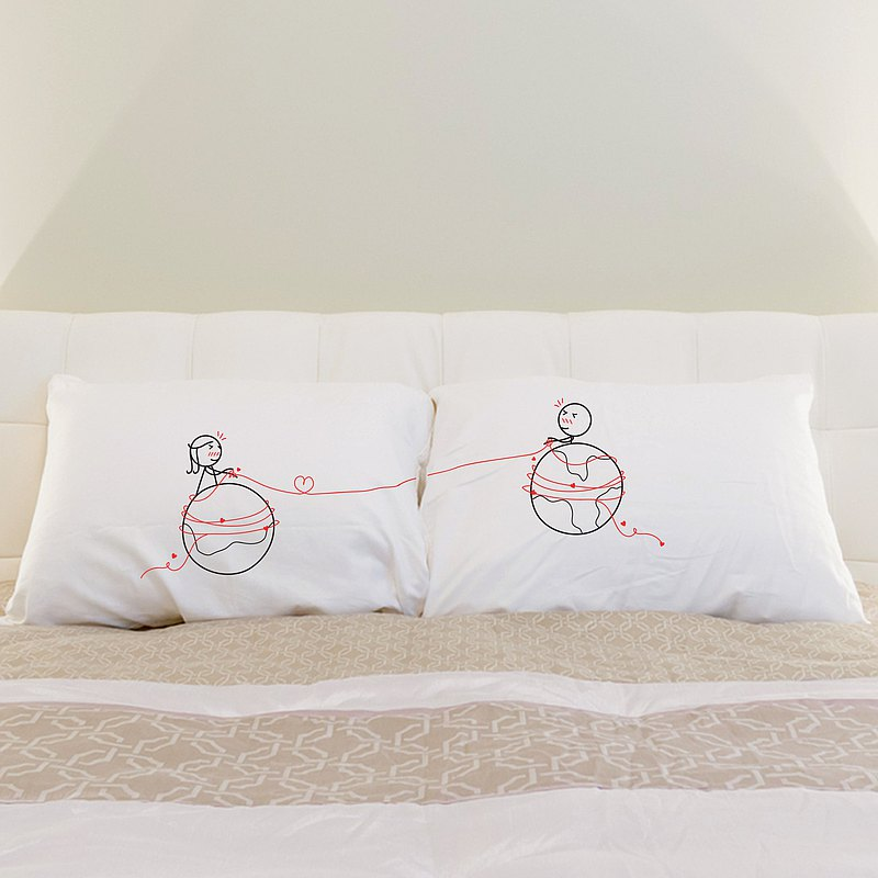 """Mars and Venus"" Boy Meets Girl couple pillowcases by Human Touch"