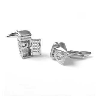 Retro phones and public telephone booths (available) Cufflinks Phone and Public Telephone Booth Cufflink