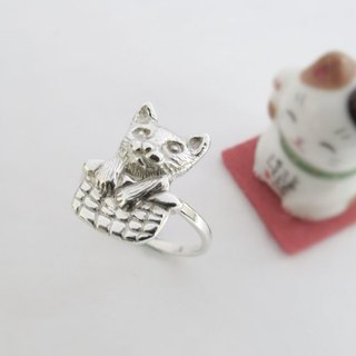Curious cat (925 sterling silver animal ring) - C percent handmade jewelry