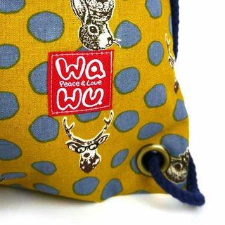 WaWu Drawstring backpack (Rabbit and deer/Yellow)