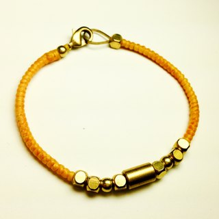 Yellow movement. Simple series ◆ Sugar Nok ◆ hand-knitted wax cord bracelet brass