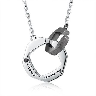 Hong Kong Design BLING BLING 925 silver plating platinum necklace Men couple black zircon French My Love
