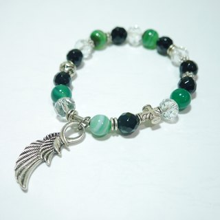 S & amp; A- frenzy green striped agate stone bracelet - beaded bracelet