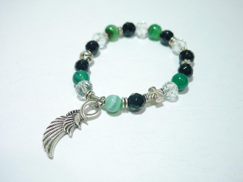 S&A-狂潮手鍊 綠條紋瑪瑙石 - 串珠 手鍊