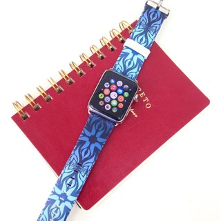Apple Watch Series 1 , Series 2, Series 3 - Vintage Floral Blue Watch Strap Band for Apple Watch / Apple Watch Sport - 38 mm / 42 mm avilable