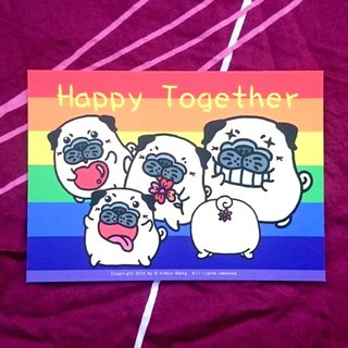 Pug Postcard- Happy Together