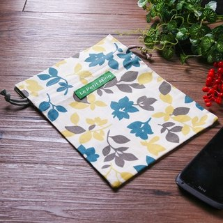 Drawstring Pouch Summer Style Green Leaf Printing Pure Cotton Printing 2 PCS Set