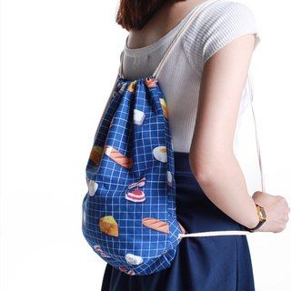 | 055 | Eggs Bunny Breakfast Square Drawstring Back Bag Shoulder Bag