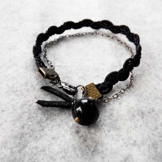 Dark light shining black stone natural stone crystal braided bracelet hand rope | gift
