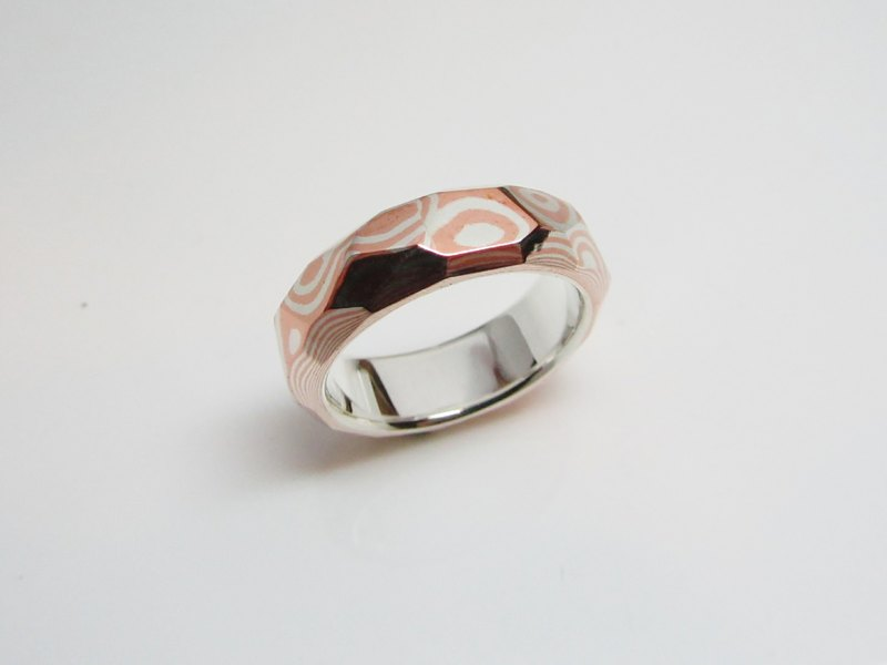Element 47 Jewelry studio~ mokume gane ring 11  (silver/copper)