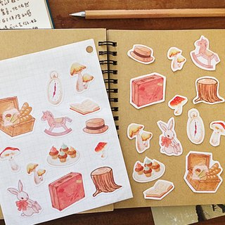 Forest Picnic Party / hand-painted style illustration PDA stickers _ a group