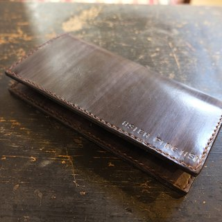 Lovey leather Accessories / royal name lettering basic models - natural vegetable tanned leather, hand-made Japanese hand-stitching leather long wallet
