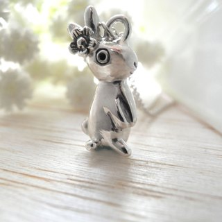 Little flower rabbit (925 sterling silver necklace, animal necklace) - C percent