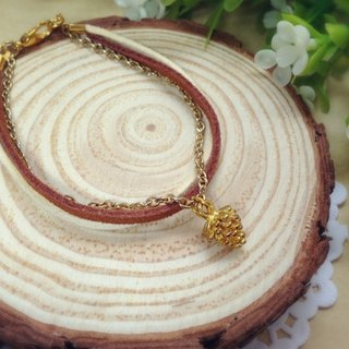[Cream] wisdom plush gold pinecone bronze leather cord bracelet bracelet couple birthday gift handmade exclusive