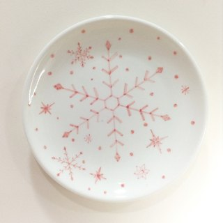 Snowflakes / pink - [stock] 6-inch cake plate hand-painted Christmas [Christmas / Christmas gift / gift exchange]