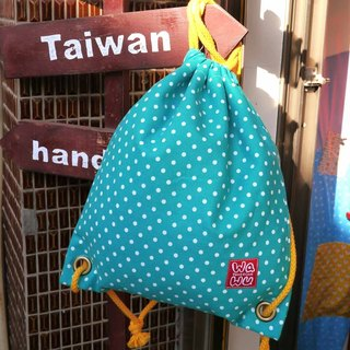 WaWu Drawstring backpack (blue-green dot cloth)
