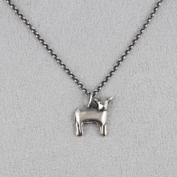 Ohappy animal series. Lamb sterling silver necklace