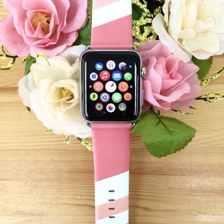 Apple Watch Series 1 , Series 2 & Series 3 - Pink Geometric Printed on Genuine Leather for Apple Watch Strap Band 38 / 42 mm - 62