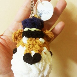 [Leaf cat son. Hand-made] q Edition pet dog's head keychain made