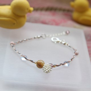 KNIT WITH LOVE French antiques line blond small pine cones with silver bracelet