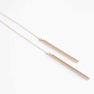 【14KGF】Ear Thread Earrings,Matt Gold Skinny Stick