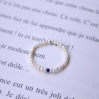 Journal (letter P- Pearl meticulous soft ring) - hand-made silver, lapis lazuli, natural pearls