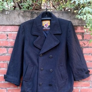 Navy double button wool coats