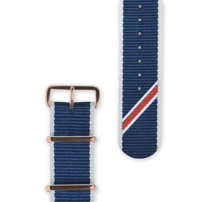 HYPERGRAND軍用錶帶 - 22mm - 藍斜紋 (玫瑰金釦)