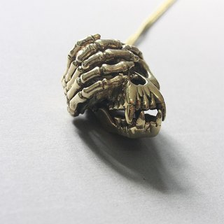 Golden Ape Skull Hiding Face Pendant / Necklace