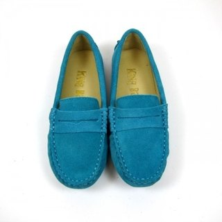 Fort Tony Wang handmade leather shoes (female) [frosted cow / bean bottom / light blue]