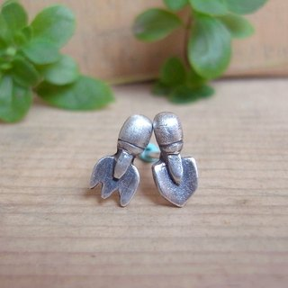Small Shovel and  Small Rake--Cute Gardening Tools-Sterling Silver-Stud Earrings