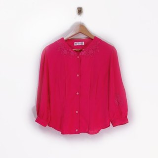 Pink embroidered openwork lace blouse vintage