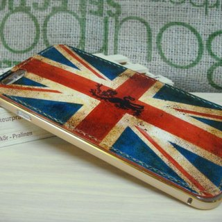[ISSIS] aluminum frame, hand-made leather pure hand-painted old British flag pattern phone protective shell for Iphone 6 plus