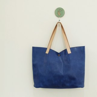 Blue Tulip Oil Wax Cowhide Handbag Shoulder Bag Temperament L New Color Seaweed Plant Tanned Leather Tie
