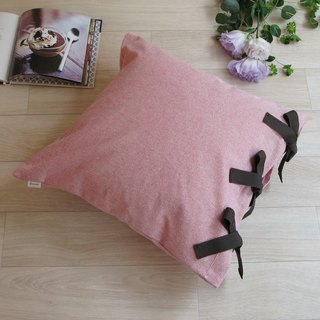 [Cover only] canvas plain cushion cover ribbon SQ